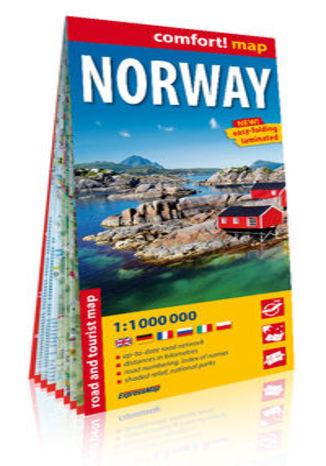 Okładka książki/ebooka Norwegia (Norway) laminowana mapa samochodowo-turystyczna 1:1 000 000
