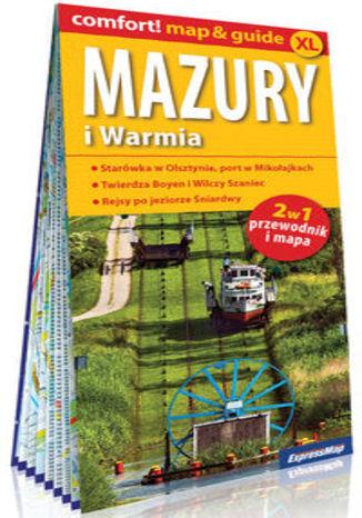 Okładka książki Mazury i Warmia laminowany 2w1 przewodnik i mapa