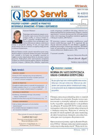 Okładka książki/ebooka ISO Serwis. Wszystko o normach i systemach zarządzania jakością. Nr 4/2015