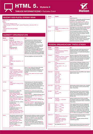 Okładka książki/ebooka Tablice informatyczne. HTML 5. Wydanie II