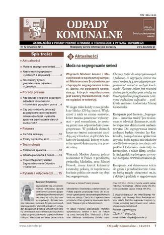 Okładka książki/ebooka Odpady komunalne. Nr 12/2014