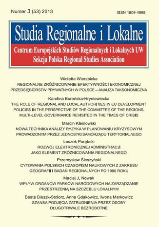 Okładka książki/ebooka Studia Regionalne i Lokalne nr 3(53)/2013