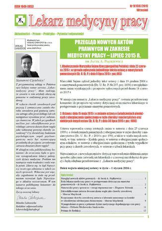 Okładka książki/ebooka Lekarz Medycyny Pracy on-line Nr.9/2015