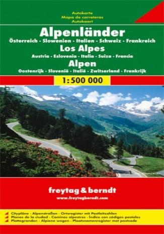 Okładka książki/ebooka Alpy - Austria, Słowenia, Włochy, Szwajcaria, Francja. Mapa Freytag & Berndt 1:500 000