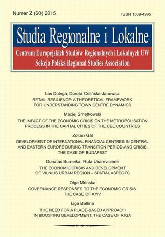Okładka książki/ebooka Studia Regionalne i Lokalne nr 2(60)/2015 - Donatas Burneika, Ruta Ubareviciene: The economic crisis and development of Vilnius urban region - spatial aspects