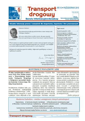 Okładka książki/ebooka Transport drogowy. Aktualne informacje prawne i wskazówki dla eksporterów, importerów i firm przewozowych. Nr 10/2015