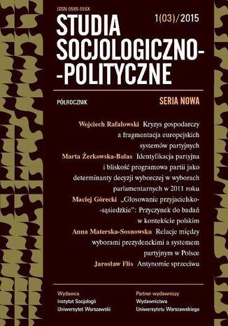 Okładka książki/ebooka Studia Socjologiczno-Polityczne 2015/1 (03). Seria nowa. Wybory w Europie i wybory w czasach kryzysu gospodarczego