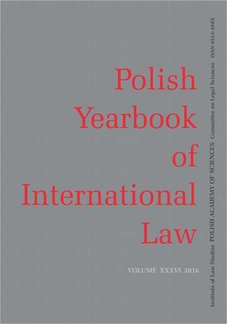 Okładka książki 2016 Polish Yearbook of International Law vol. XXXVI