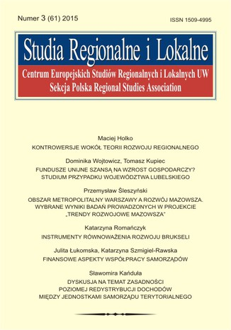 Okładka książki Studia Regionalne i Lokalne nr 3(61)/2015