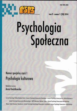 Psychologia Społeczna nr 1(28)/2014 - Piotr Szarota: Przyjaźń pod mikroskopem. Problemy metodologiczne w badaniach nad funkcjonowaniem relacji przyjacielskich