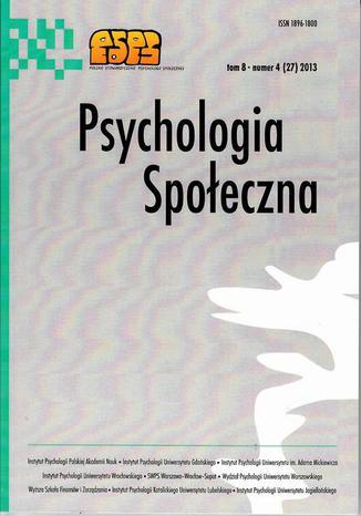 Psychologia Społeczna nr 4(27)/2013 - Ryszard Makarowski, Joanna Kasprowicz: Poczucie zagrożenia pracowników organizacji humanitarnych w Afganistanie