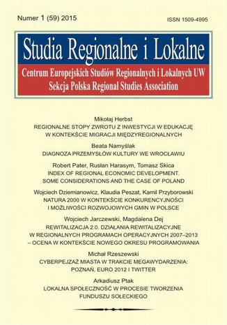Studia Regionalne i Lokalne nr 1(59)/2015 - Robert Pater, Rusłan Harasym, Tomasz Skica: Index of regional economic development. Some considerations and the case of Poland