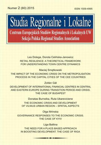 Studia Regionalne i Lokalne nr 2(60)/2015 - Donatas Burneika, Ruta Ubareviciene: The economic crisis and development of Vilnius urban region - spatial aspects