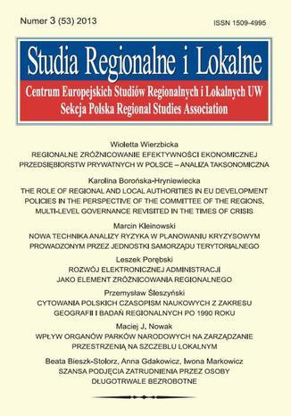 Studia Regionalne i Lokalne nr 3(53)/2013 - Marcin Kleinowski: Nowa technika analizy ryzyka w planowaniu kryzysowym prowadzonym przez jednostki samorządu terytorialnego w Polsce
