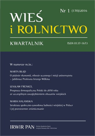 Okładka książki/ebooka Wieś i Rolnictwo nr 1 (170)/2016