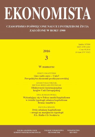 Okładka książki/ebooka Ekonomista 2016 nr 3