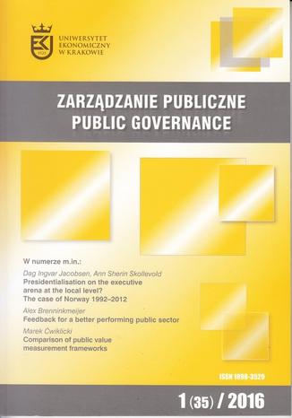 Okładka książki Zarządzanie Publiczne nr 1(35)/2016