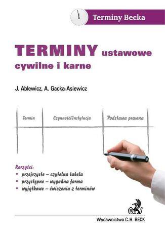 Okładka książki/ebooka Terminy ustawowe cywilne i karne
