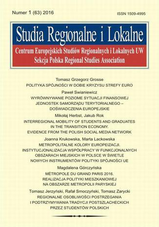 Okładka książki Studia Regionalne i Lokalne nr 1(63)/2016
