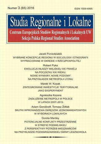 Okładka książki Studia Regionalne i Lokalne nr 3(65)/2016