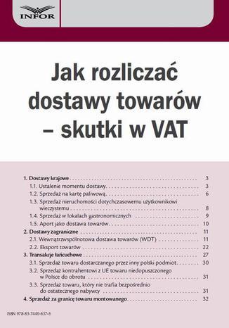 Okładka książki Jak rozliczać dostawy towarów  skutki w VAT