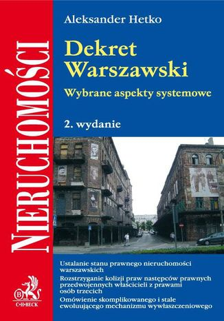 Okładka książki Dekret Warszawski. Wybrane aspekty systemowe