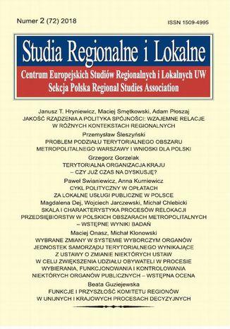 Okładka książki Studia Regionalne i Lokalne nr 2(72)/2018
