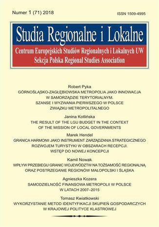 Okładka książki Studia Regionalne i Lokalne nr 1(71)/2018
