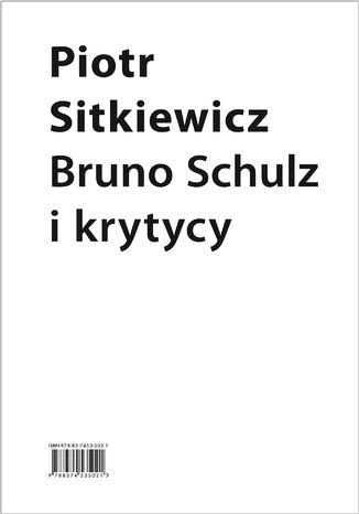 Okładka książki Bruno Schulz i krytycy