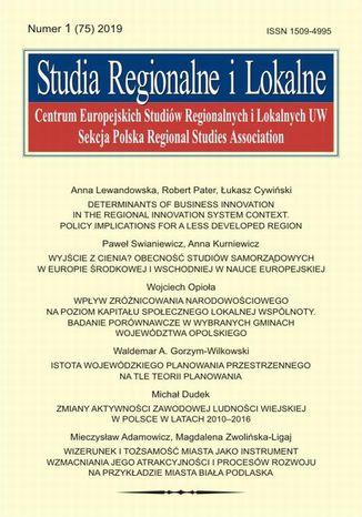 Okładka książki Studia Regionalne i Lokalne nr 1(75)/2019
