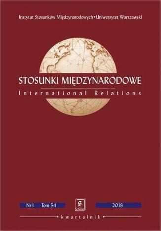 Okładka książki Stosunki Międzynarodowe nr 1(54)/2018