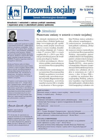 Pracownik socjalny on-line Aktualności i wskazówki z zakresu praktyki zawodowej i organizacji pracy w placówkach pomocy społecznej
