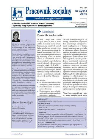Okładka książki Pracownik socjalny nr 7/2014