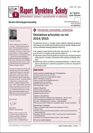 Okładka książki Raport Dyrektora Szkoły nr.8/2014r