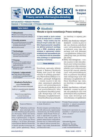Okładka książki Woda i ścieki nr.8/2014r