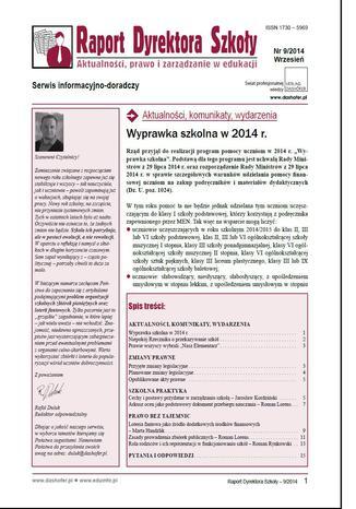 Okładka książki/ebooka Raport Dyrektora Szkoły on-line nr.9/2014
