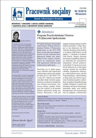 Okładka książki Pracownik socjalny on-line nr.9/2014