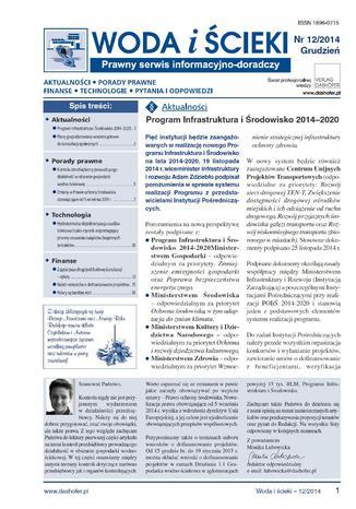 Woda i ścieki. Prawny serwis informacyjno-doradczy. Nr 12/2014