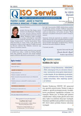 ISO Serwis. Wszystko o normach i systemach zarządzania jakością. Nr 1/2015