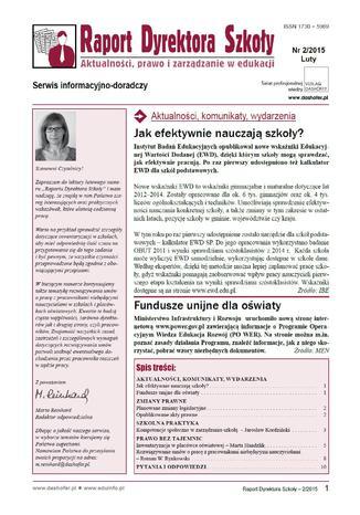 Okładka książki Raport Dyrektora Szkoły on-line nr 2/2015
