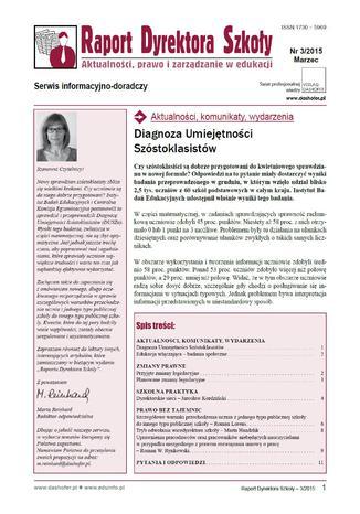 Raport Dyrektora Szkoły on-line nr 3/2015