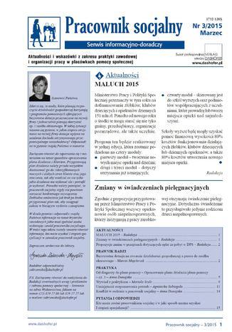 Okładka książki  Pracownik socjalny on-line nr 3/2015