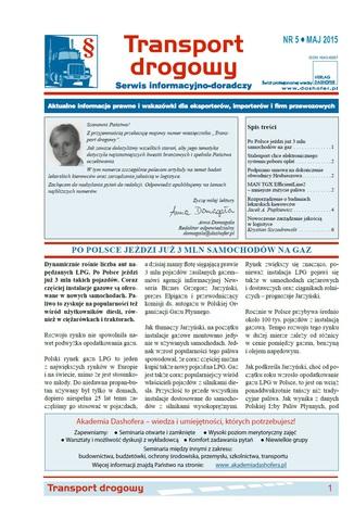 Okładka książki/ebooka Transport drogowy. Aktualne informacje prawne i wskazówki dla eksporterów, importerów i firm przewozowych. Nr 5/2015
