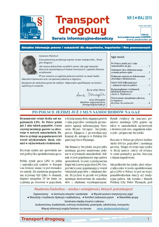 Okładka książki Transport drogowy. Aktualne informacje prawne i wskazówki dla eksporterów, importerów i firm przewozowych. Nr 5/2015
