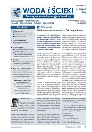 Woda i ścieki. Prawny serwis informacyjno-doradczy. Nr 5/2015