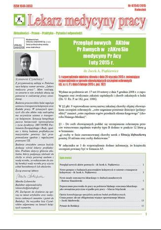 Lekarz Medycyny Pracy on-line Nr.4/2015