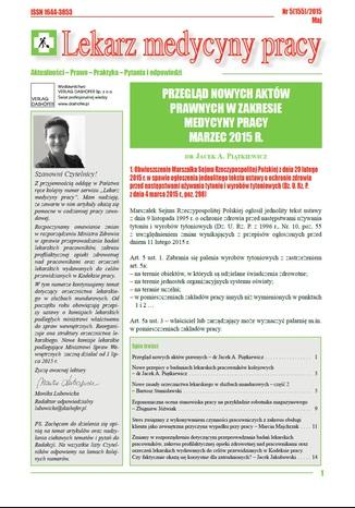 Lekarz Medycyny Pracy on-line Nr.5/2015