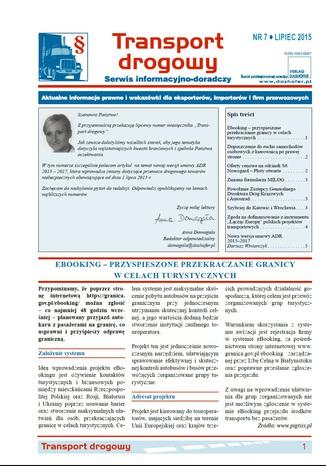 Okładka książki Transport drogowy. Aktualne informacje prawne i wskazówki dla eksporterów, importerów i firm przewozowych. Nr 7/2015