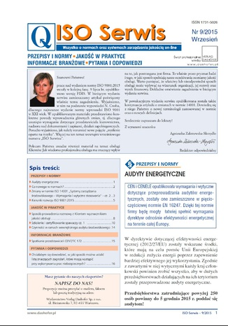 ISO Serwis. Wszystko o normach i systemach zarządzania jakością. Nr 9/2015