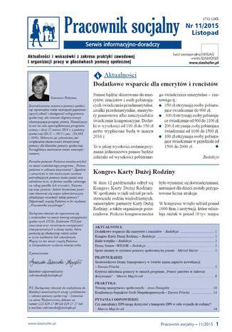 Okładka książki/ebooka Pracownik socjalny on-line nr.11/2015